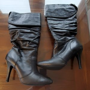 ALDO Black Leather Knee High Boots size 6